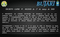 DECRETO GAPRE Nº. 002/2020 de 17 de março de 2020
